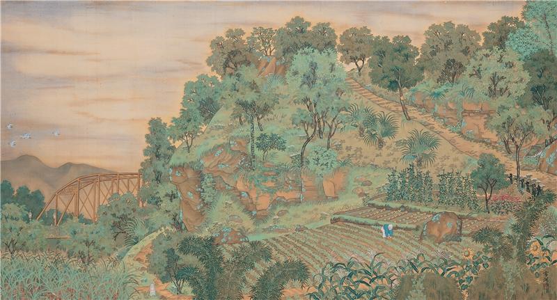 郭雪湖,《圓山附近》,1928,膠彩、絹,94.5×188公分。臺北市立美術館典藏