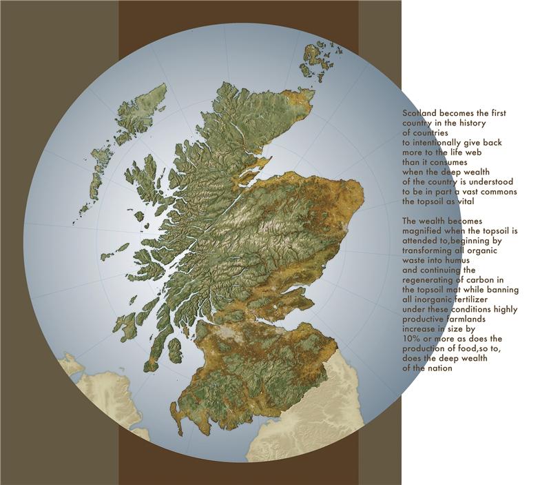 海倫.哈里森 & 牛頓.哈里森,《綜觀蘇格蘭的深層國富》,2018,乙烯基印刷,221×252公分