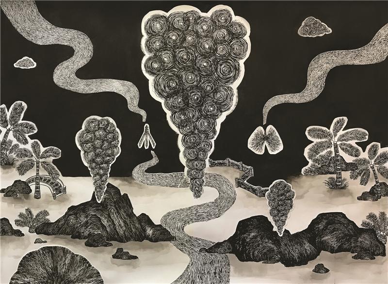 張碩尹,空汙水墨畫