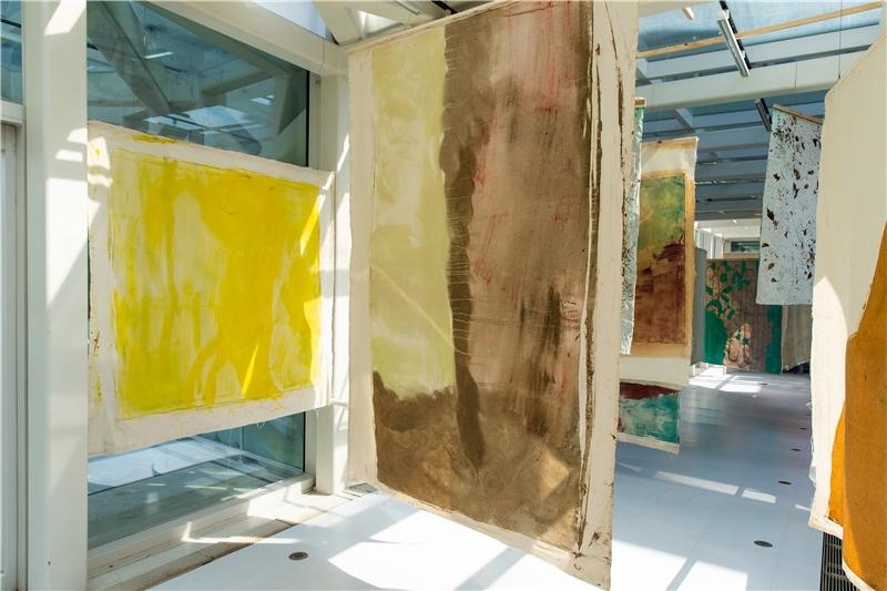 薇薇安.蘇特,《拉拉山.帕納哈切爾》,2018,油彩、壓克力、顏料、魚膠、泥土、植物性物質和畫布上的微生物,多幅畫布,尺寸視空間而定