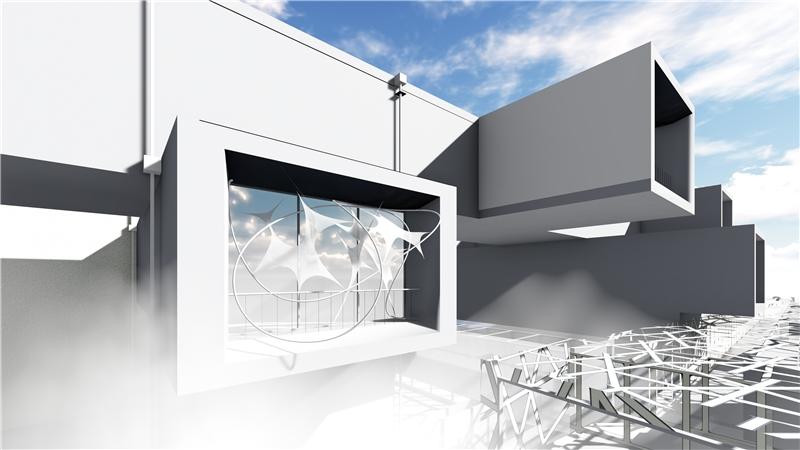 張懷文,《北美雲》(模擬圖),2018,鋼構、膜構造、氣象站、水霧系統、LED,400×120×600公分