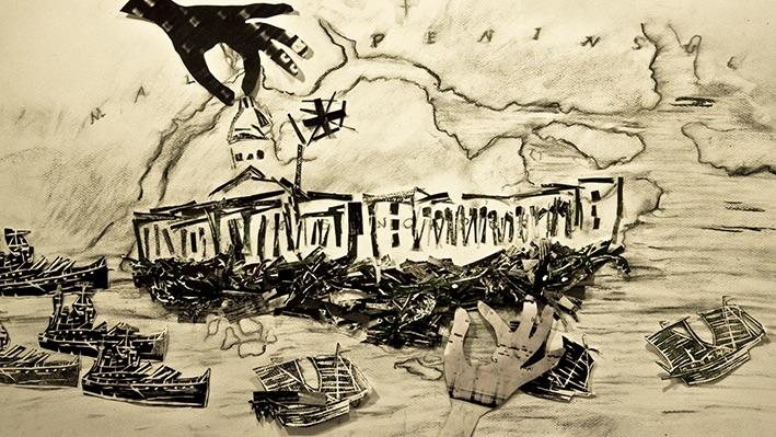 木材興盛之後的島嶼II——新加坡。《Jalan Jati(柚木路)》(動畫截圖),2012,手工動畫影片,片長23分鐘。概念、導演及手工動畫:露西.戴維斯;音樂及聲音設計:Zai Kuning & Zai Tang