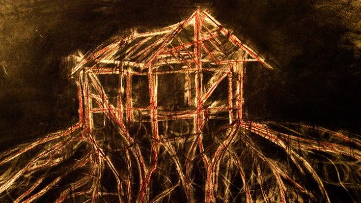 榕樹與柚木爭鬥。《Jalan Jati(柚木路)》(動畫截圖),2012,手工動畫影片,片長23分鐘。概念、導演及手工動畫:露西.戴維斯;音樂及聲音設計:Zai Kuning & Zai Tang