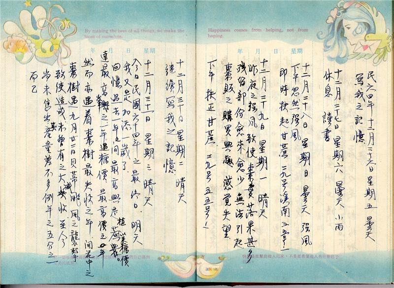 陸季盈於1975年12月26至31日撰寫的日記。資料由國立臺灣歷史博物館提供
